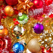 Christmas balls and tinsel - Stock Photo