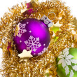 Christmas balls with tinsel - Stock fotografie