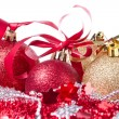 Christmas balls with ribbon and tinsel — Foto de Stock