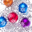 Christmas balls with tinsel - Stock Photo