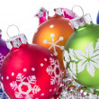 Christmas balls with snowflake symbols — Stock Photo #7657275