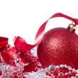 Ball with ribbon and tinsel - Stock Photo