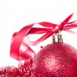 Stock Photo: Christmas balls with ribbon and tinsel