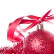Christmas balls with ribbon and tinsel — Stock Photo #7657291