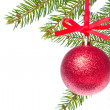 Red christmas ball hanging from tree — Stock Photo #7657314