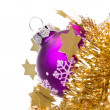 Christmas ball with tinsel - Stock Photo