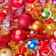 Christmas balls and tinsel — Stock Photo