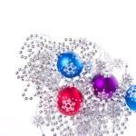 Christmas balls with tinsel — Stock Photo