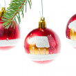Red christmas ball on branch — Stock Photo #7657347
