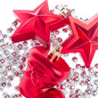 Christmas decoration with tinsel - Foto Stock