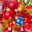 Christmas balls and tinsel — Photo