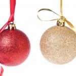 Christmas balls with ribbon — Stock Photo #7657363
