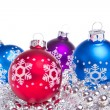 Christmas balls with tinsel — Stock Photo #7657455