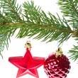 Red christmas decoration on the tree - Stockfoto