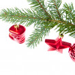 Red christmas decoration on the tree — Stock Photo