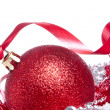 Ball with ribbon and tinsel — Stok fotoğraf