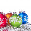 Christmas balls with snowflake symbols — Stock Photo #7657504