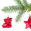 Stock Photo: Red christmas decoration on the tree