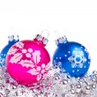 Christmas balls with tinsel — Stock Photo #7657580