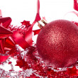 Ball with ribbon and tinsel — Stock fotografie