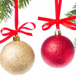 Christmas balls hanging from tree - Stockfoto