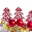 Christmas decoration with trees and balls — Stok fotoğraf