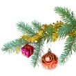 Stock Photo: Decorated christmas branch