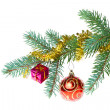 Decorated christmas branch — Stock Photo