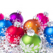 Christmas balls with snowflake symbols - Stockfoto