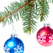 Ball hanging from spruce christmas tree — Stock Photo #7657665