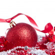 Ball with ribbon and tinsel — Photo
