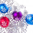 Christmas balls with tinsel — Foto de Stock