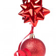 Christmas ball with ribbon - Stockfoto