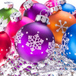 Christmas balls with snowflake symbols — Stock Photo #7657828