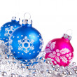 Christmas balls with tinsel — Stock Photo #7657837