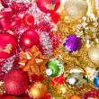 Christmas balls and tinsel — 图库照片