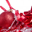Ball with ribbon and tinsel — Stock Photo