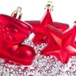 Christmas decoration with tinsel - Stockfoto