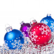Christmas balls with tinsel — Stock Photo #7658054