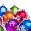 Christmas balls with snowflake symbols — Stock Photo #7658070