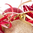 Christmas balls with ribbon and tinsel — Stock Photo