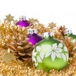 Christmas balls with tinsel — Stock Photo