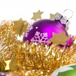 Christmas ball with tinsel - Stockfoto