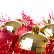 Christmas balls with tinsel - Stockfoto