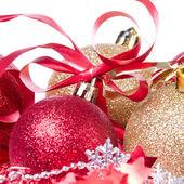 Christmas balls with ribbon and tinsel — Stock Photo