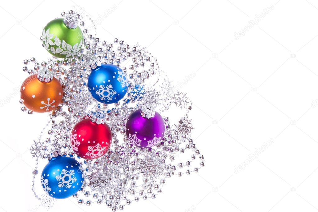 Christmas balls with tinsel isolated on white background — Stock Photo #7656391