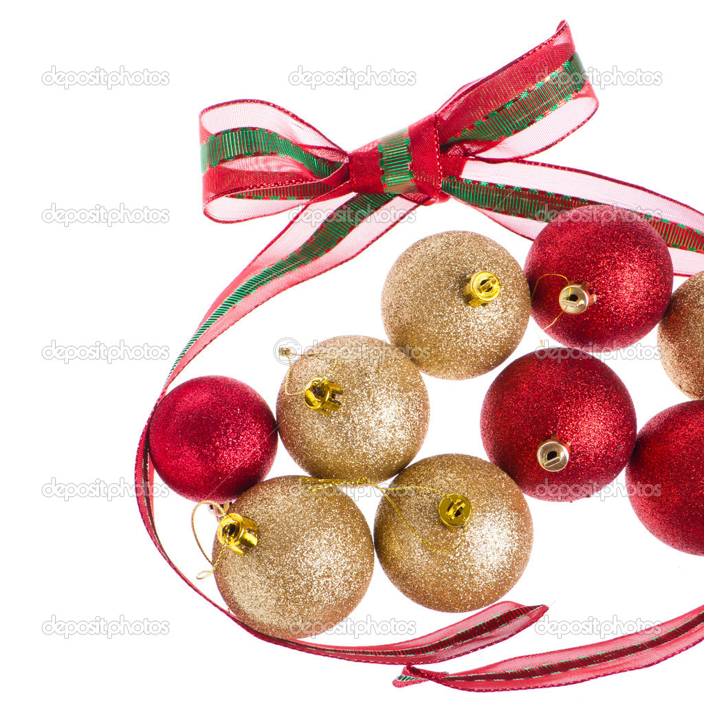 Christmas balls with big ribbon around isolated on white background — Stock Photo #7656408