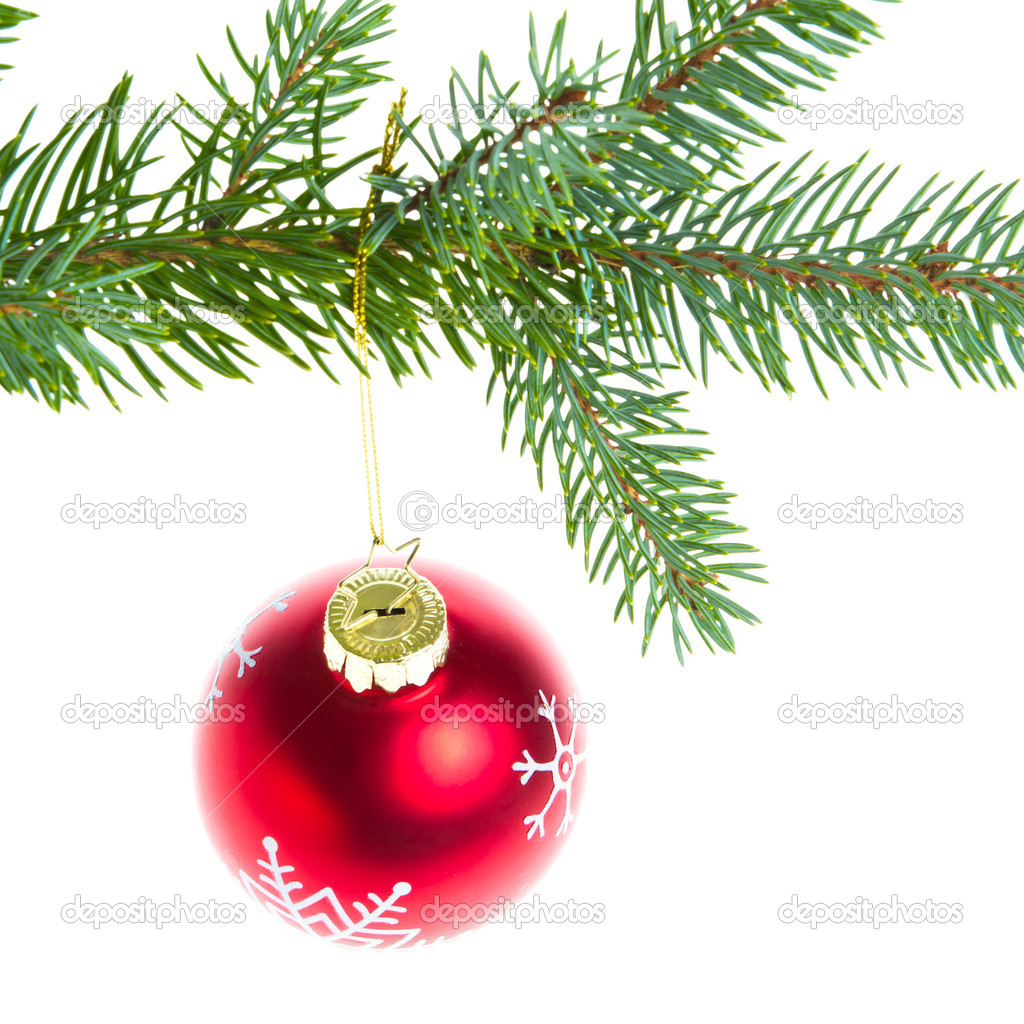 Christmas ball on branch isolated on white background — Stock Photo #7656410