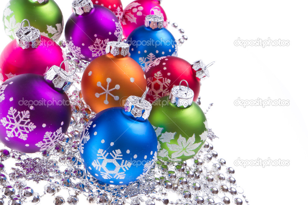 Christmas balls with tinsel isolated on white background  Stock Photo #7656474