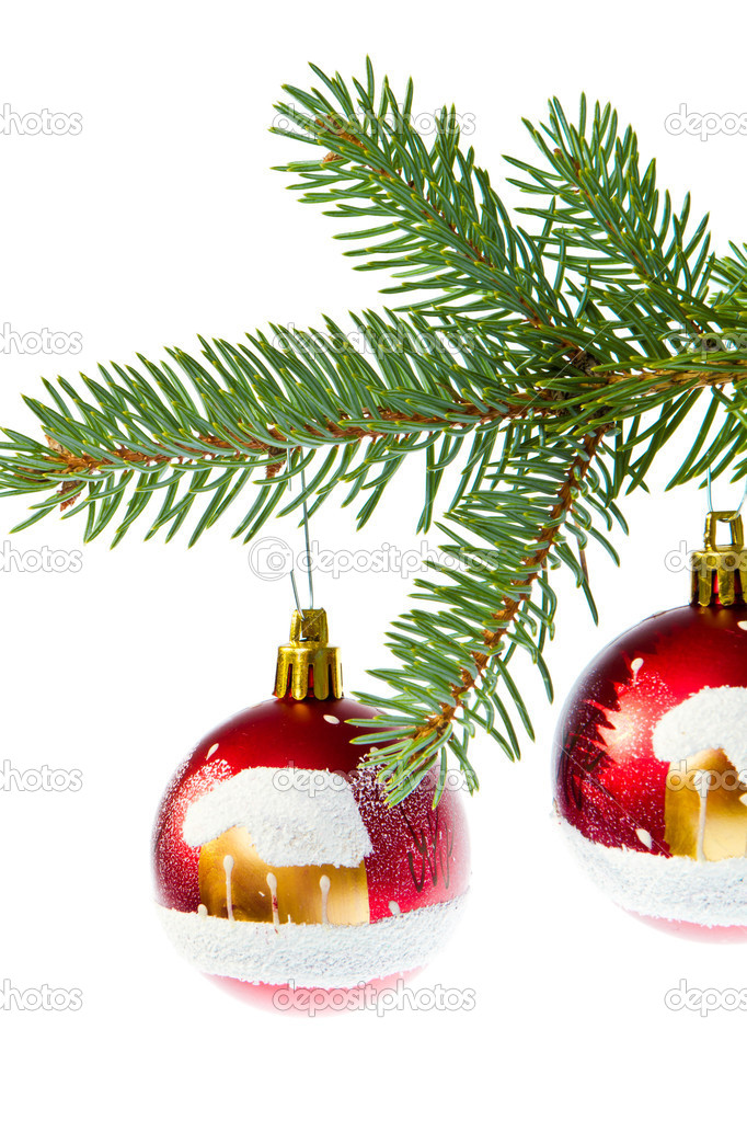 Christmas ball on branch isolated on white background — Stock Photo #7656481